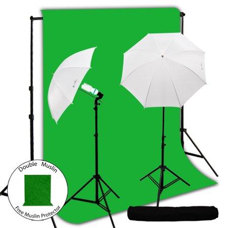 (Loadstone Studio 400W Photography Lighting Light Kit + 10' x 10' Green Chroma Key Muslin Backdrop Background Photo Portrait Studio 33