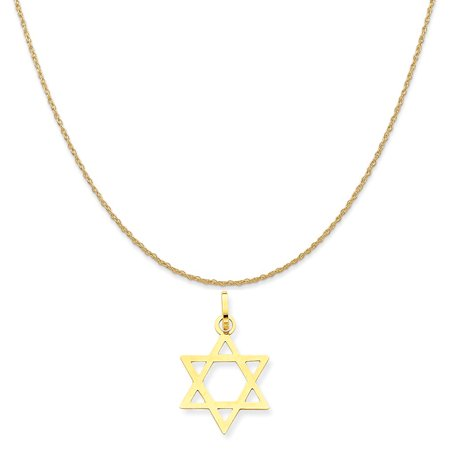 14k Yellow Gold Star Of David Pendant on a 14K Yellow Gold Rope Chain Necklace, - 14k Gold Star Of David Necklace
