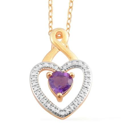 Amethyst Diamond Pendant Necklace (Goldtone Amethyst Brazil Diamond Chain Love Heart Valentines Pendant Necklace 18