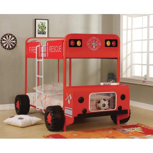 Zoomie Kids Gertie Fire Truck Twin Over Twin Bunk Bed Walmart Com