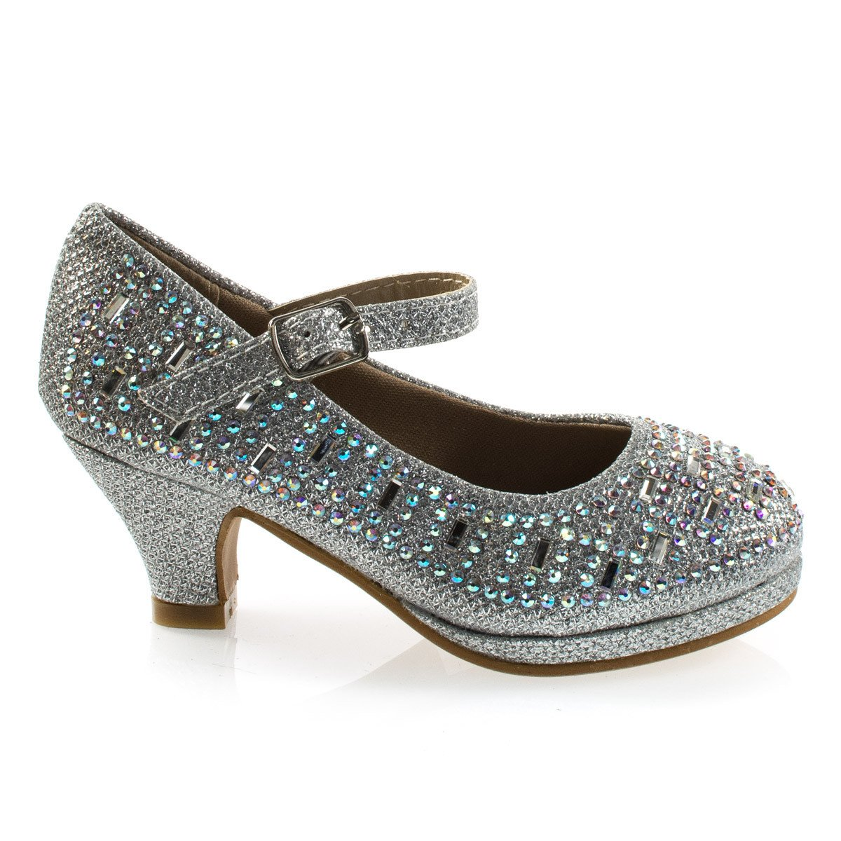 Riley78K by Forever Link, Girl's Rhinestone Encrusted Mary-Jane Dress Pump On Mesh Glitter