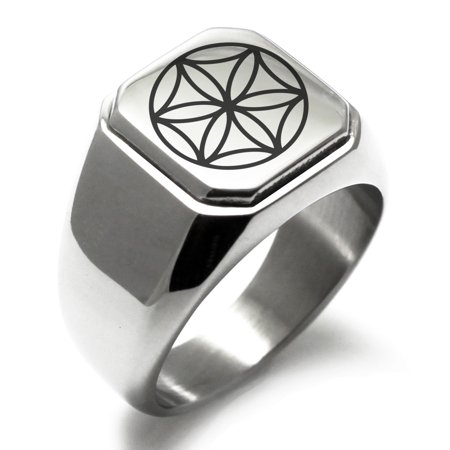Stainless Steel Aphrodite Greek Goddess of Love Engraved Square Flat Top Biker Style Polished Signet Ring