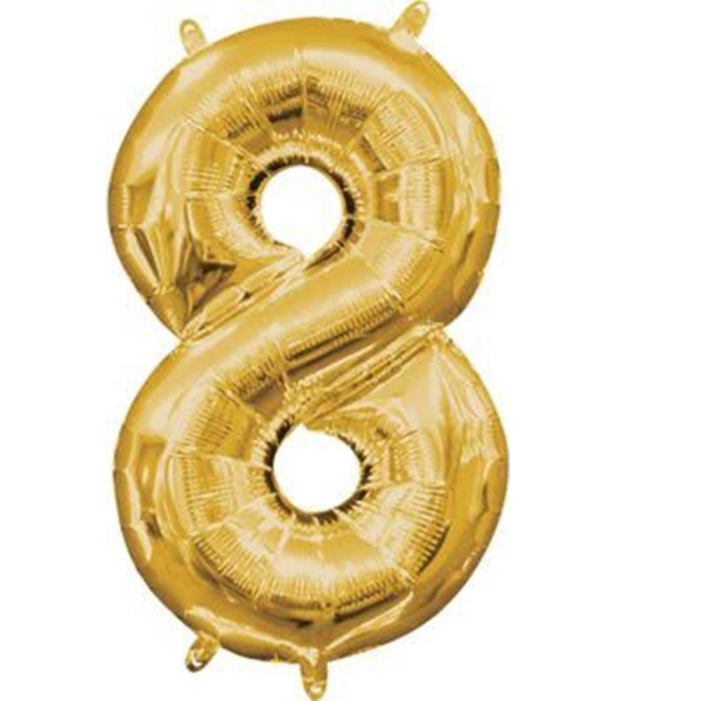 """Mini Shape Air - Filled Gold Number 8 Foil Balloon 16"""""""