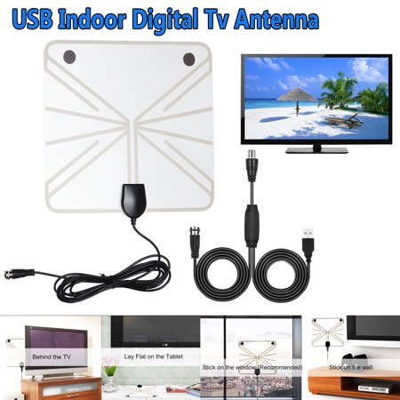 USB HD Digital TV Antenna Kit, 50-100 Miles Long Range High-Definition with HDTV Amplifier Signal Booster for Indoor - Amplified 10ft Coax Cable - Support All TV's - 1080p 4k Ready ()