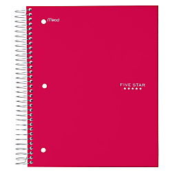 """Five Star® Trend Notebook, 8 Pockets, 8"""" x 10 1/2"""", 5 Subjects, Wide Ruled, 200 Sheets, Assorted Colors (No Color Choice)"""