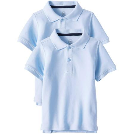 Wonder Nation School Uniform Short Sleeve Double Pique Polo, 2-Pack Value Bundle (Toddler Boys)