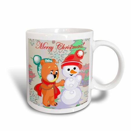 - 3dRose Cute Bear and Snowman With Christmas Background and Text , Ceramic Mug, 11-ounce