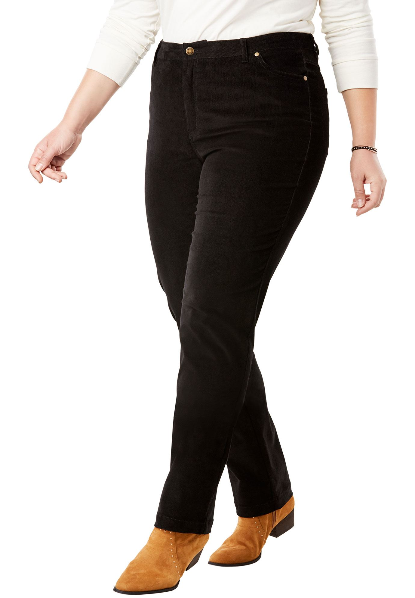 Woman Within Plus Size Tall Corduroy Straight Leg Stretch Pant