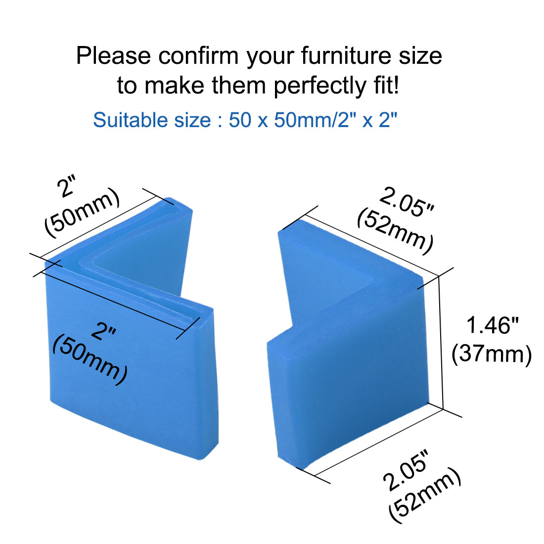 50mm x 50mm Angle Iron Foot Pad L Shaped PVC Leg Cap Floor Protector Blue 24pcs - image 3 of 7