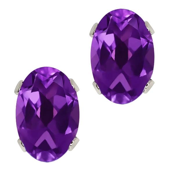 0.90 Ct 6x4mm Oval Shape Purple Amethyst Sterling Silver Stud Earrings