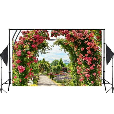 GreenDecor Polyester Fabric 7x5ft Flower Garden Photography Backdrop Studio Photo Props Room Mural
