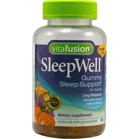 Vitafusion SleepWell Gummies White Tea with Passion Fruit 60 Each (Pack of 2) (White Gummy)