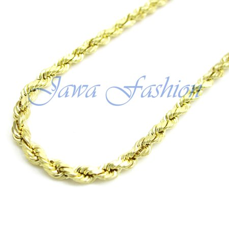14K Yellow Gold Mens 2MM Solid Diamond Cut Ropes Chains Necklace 16 to 22 Inches, 20 Inches