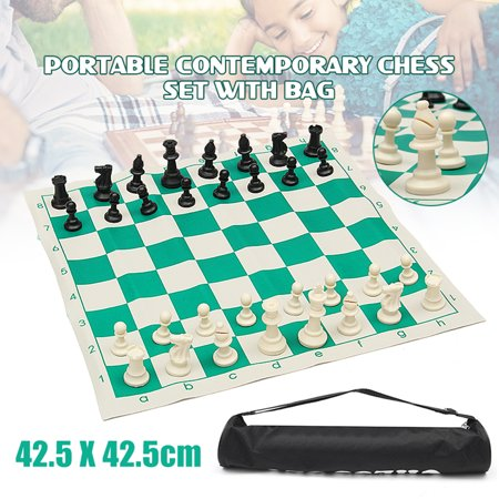 School Club & Tournament Chess Set Portable Pieces w/ Roll Board And Bag for Adult Kids