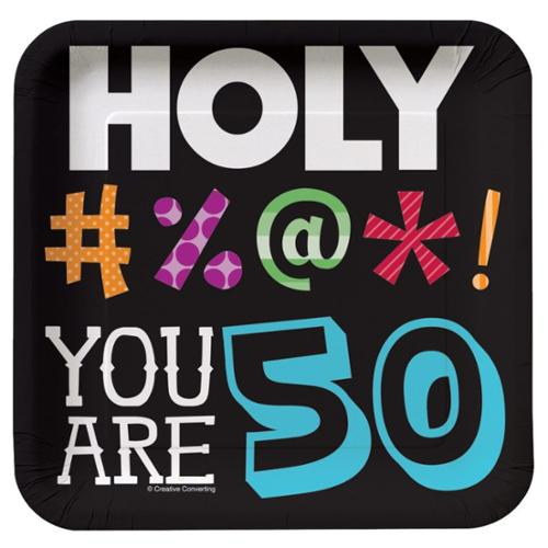 HOLY BLEEP 50TH BIRTHDAY CAKE  PLATES - Party Supplies