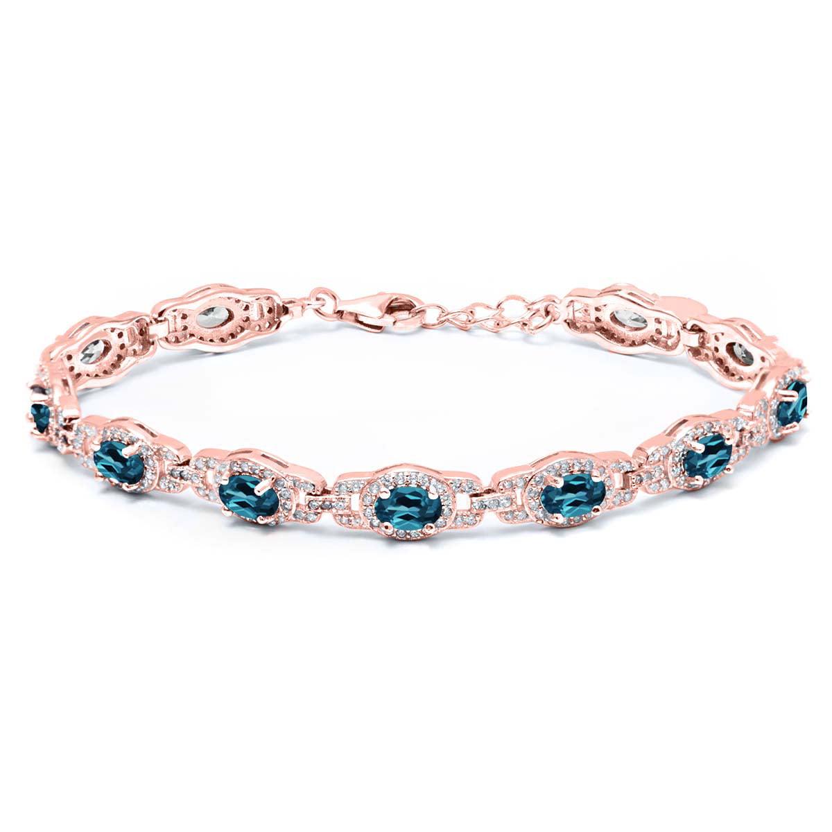9.65 Ct Oval London Blue Topaz 18K Rose Gold Plated Silver Bracelet by