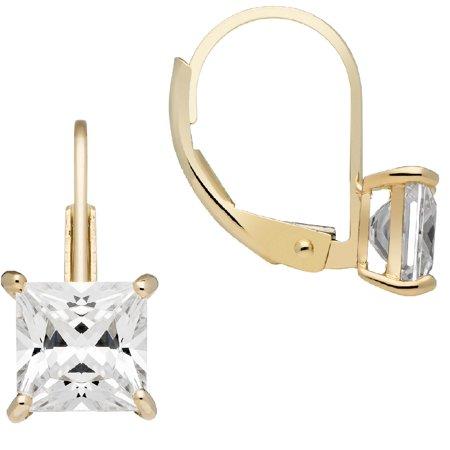14K Solid Yellow Gold Earrings | Princess Cut Cubic Zirconia | Leverback Drop Dangle Basket Setting | 2.0 CTW