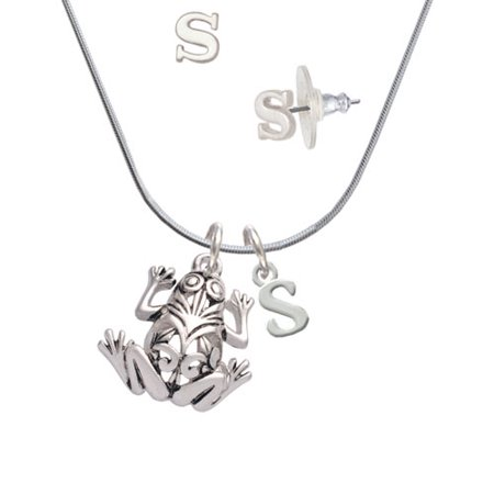 Frog Jewelry - Large Filigree Frog - S Initial Charm Necklace and Stud Earrings Jewelry Set