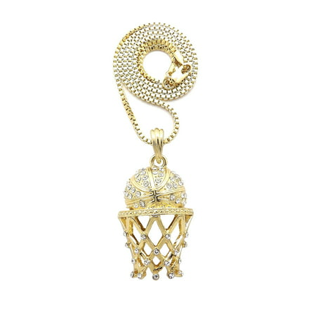 Stone Stud Basketball Goal Net Pendant with 2mm Box Chain Necklace, Gold-Tone/16