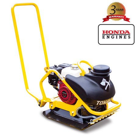 TOMAHAWK 5.5 HP Honda Vibratory Plate Compactor Tamper for Dirt, Asphalt, Gravel, Soil Compaction with 3.5 Gallon Water Tank and GX160 Engine ()