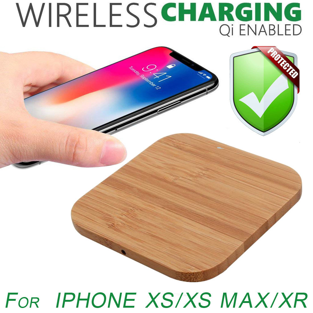 Ultra-thin Wood Qi Wireless Charger Mat Charging Pad For Iphone XS/XS Max/XR