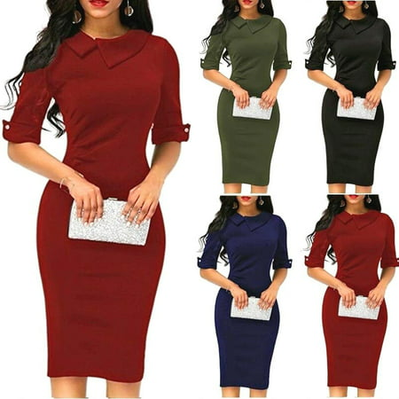 Women Spring Summer Turn-down Collar Fit Work Dress Vintage Elegant Business Office Pencil Bodycon Mini Dress ()