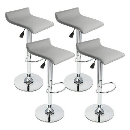 Peachy 4 Pcs Gray Modern Adjustable Height Bar Stool Swivel Pub Counter Chair Barstools Theyellowbook Wood Chair Design Ideas Theyellowbookinfo