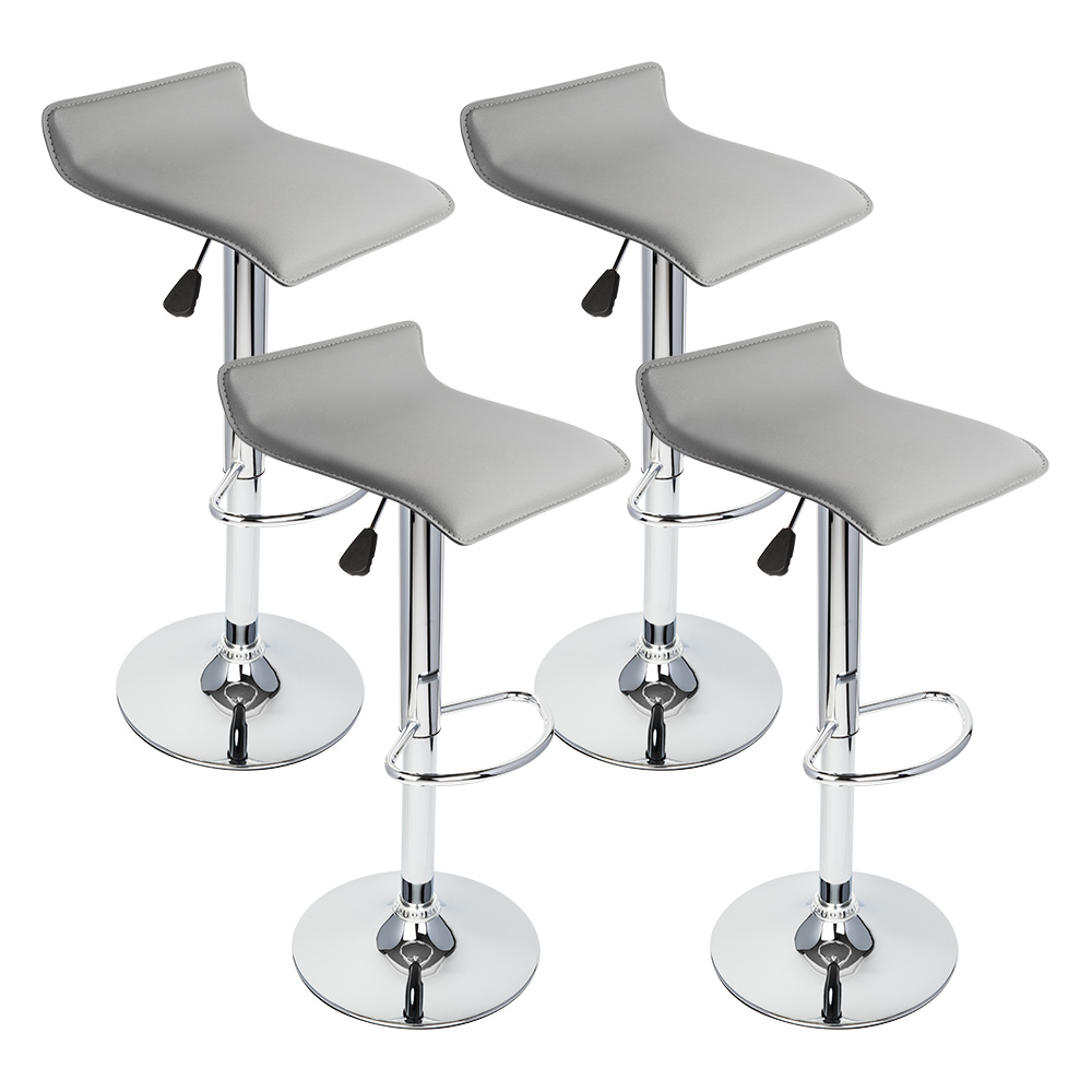 4 Pcs Gray Modern Adjustable Height Bar Stool Swivel Pub Counter Chair Barstools