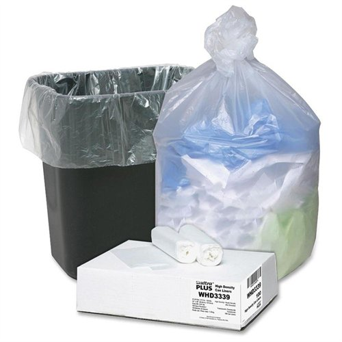 "Ultra Plus Ultra Plus High Density Trash Can Liner - 33 Gal - 33"" X 40"" - 0.43 Mil [11 µm] Thickness - High Density - Resin - 100/carton - Natural (WHD3339)"