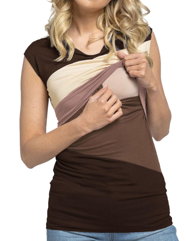 ZXZY Women Sleeveless Colorblock Maternity Babydoll Nursing T-Shirt Tops