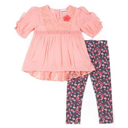 Chiffon Lace Detail Blouse & Floral Leggings, 2-Piece Outfit Set (Baby Girls)