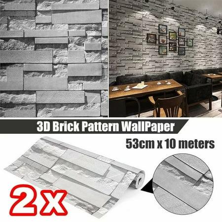 2 PCS x 57sq.ft/393.7'' x 21'' Removable Waterproof 3D Effect Brick Stone Modern Wall Paper Wall Sticker Wallpaper Roll Vinyl for Restaurant Hotel Living