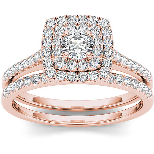 Imperial 3 4 Carat T.W. Diamond 10kt Rose Gold Double Halo Engagement Ring Set by Imperial Jewels
