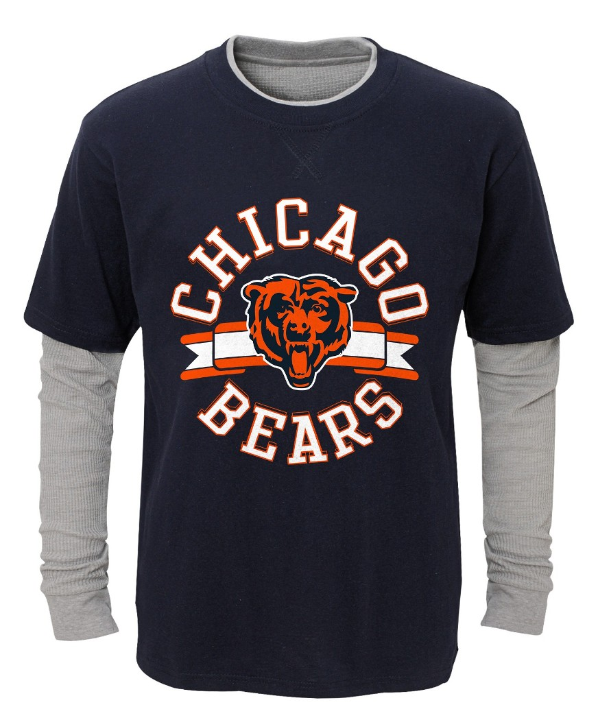 "Chicago Bears Youth NFL ""Definitive"" L S Faux Layer Thermal Shirt by Outerstuff"