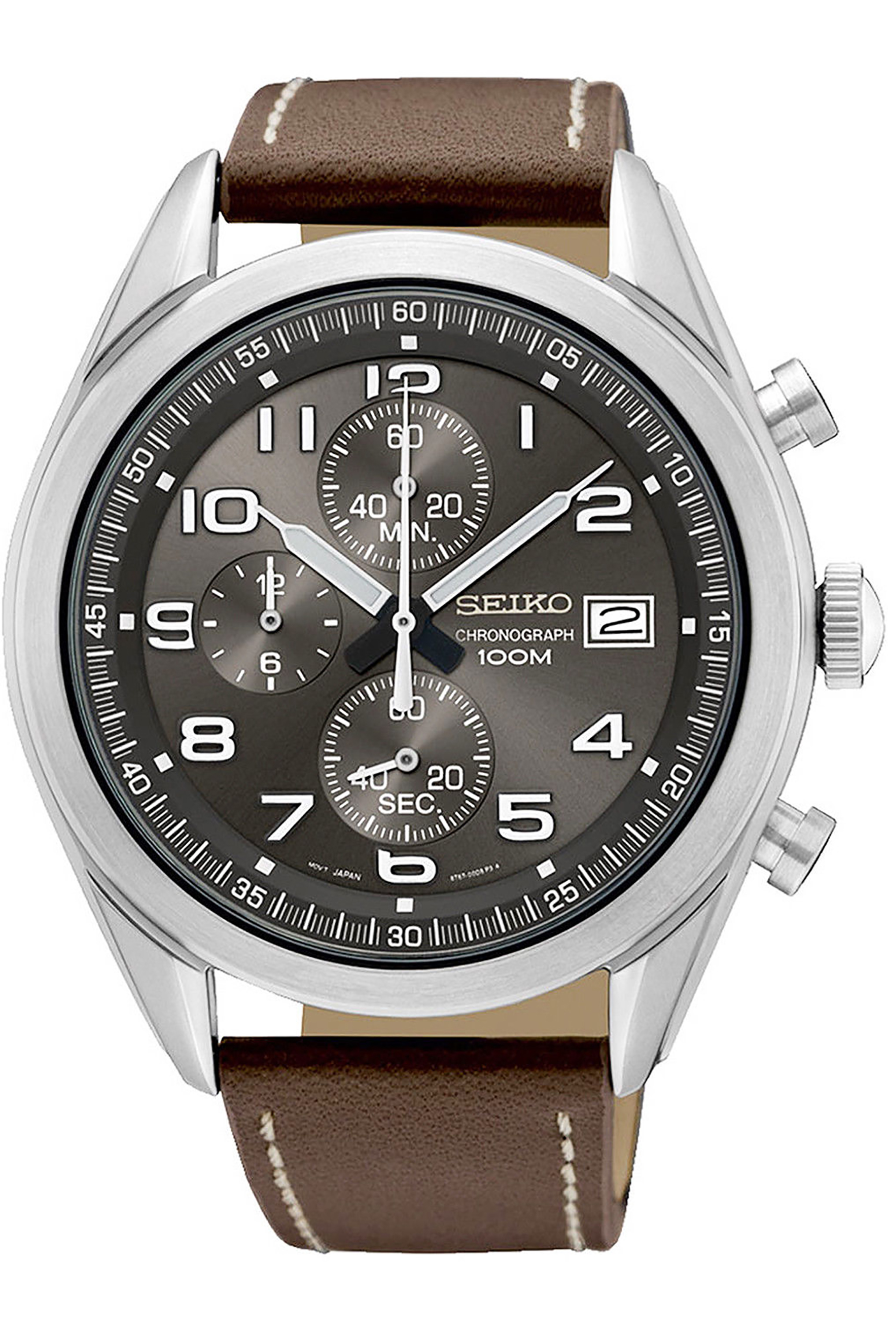 SEIKO SSB275P1,Men's Chronograph,stainless steel case,leather strap,date,100m WR,SSB275