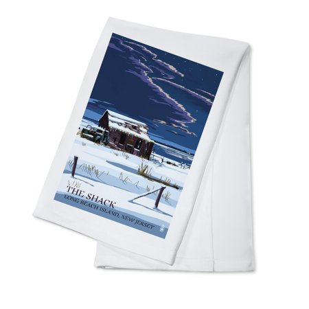 Long Beach Island, New Jersey - The Shack in Winter - Lantern Press Artwork (100% Cotton Kitchen Towel)