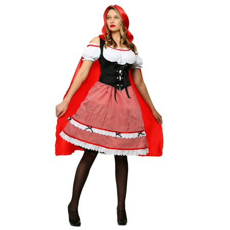 Plus Size Knee Length Red Riding Hood Costume](Gothic Red Riding Hood Costume)