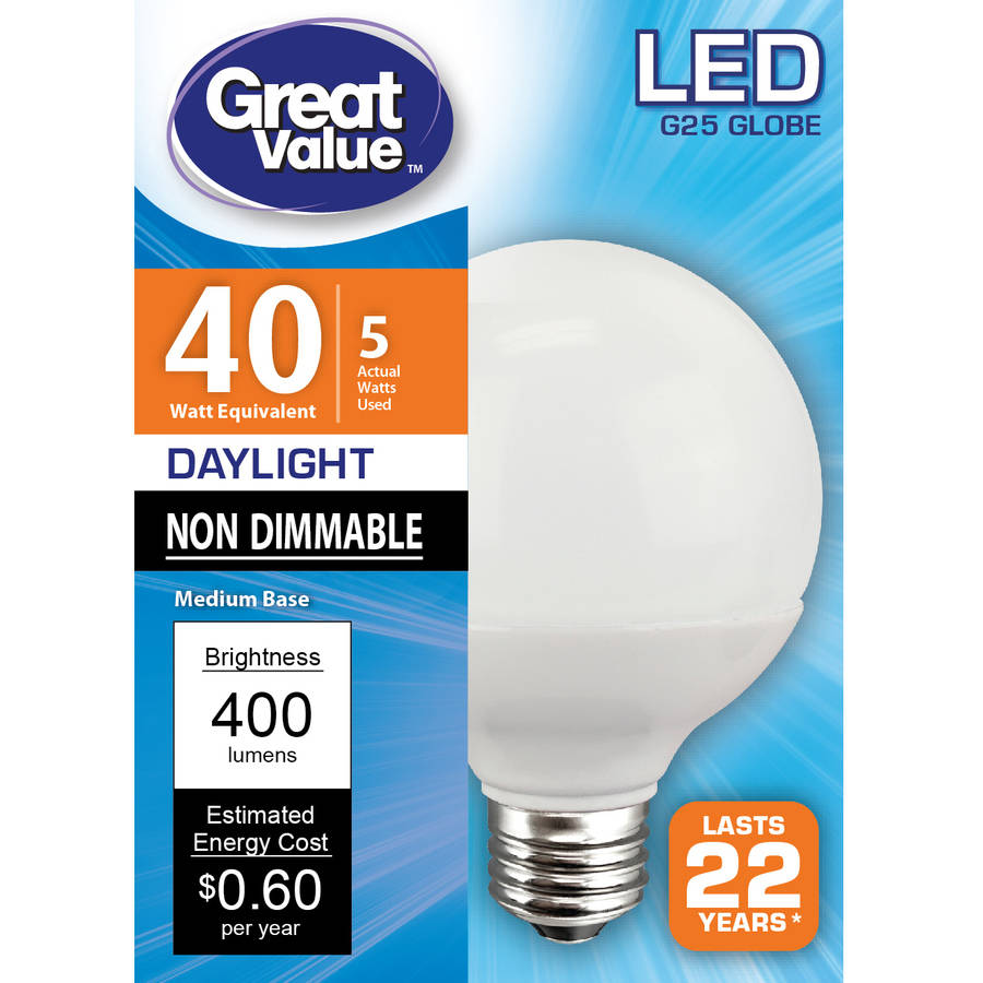 Great Value LED Light Bulb, 5W (40W Equivalent), Daylight, Globe