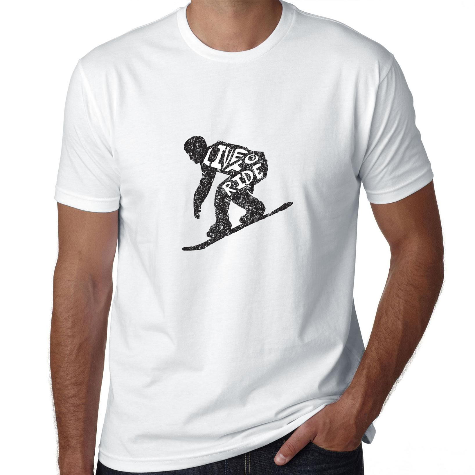 Trendy Snowboard Live to Ride Silhouette Skiing Men's T-Shirt by Hollywood Thread