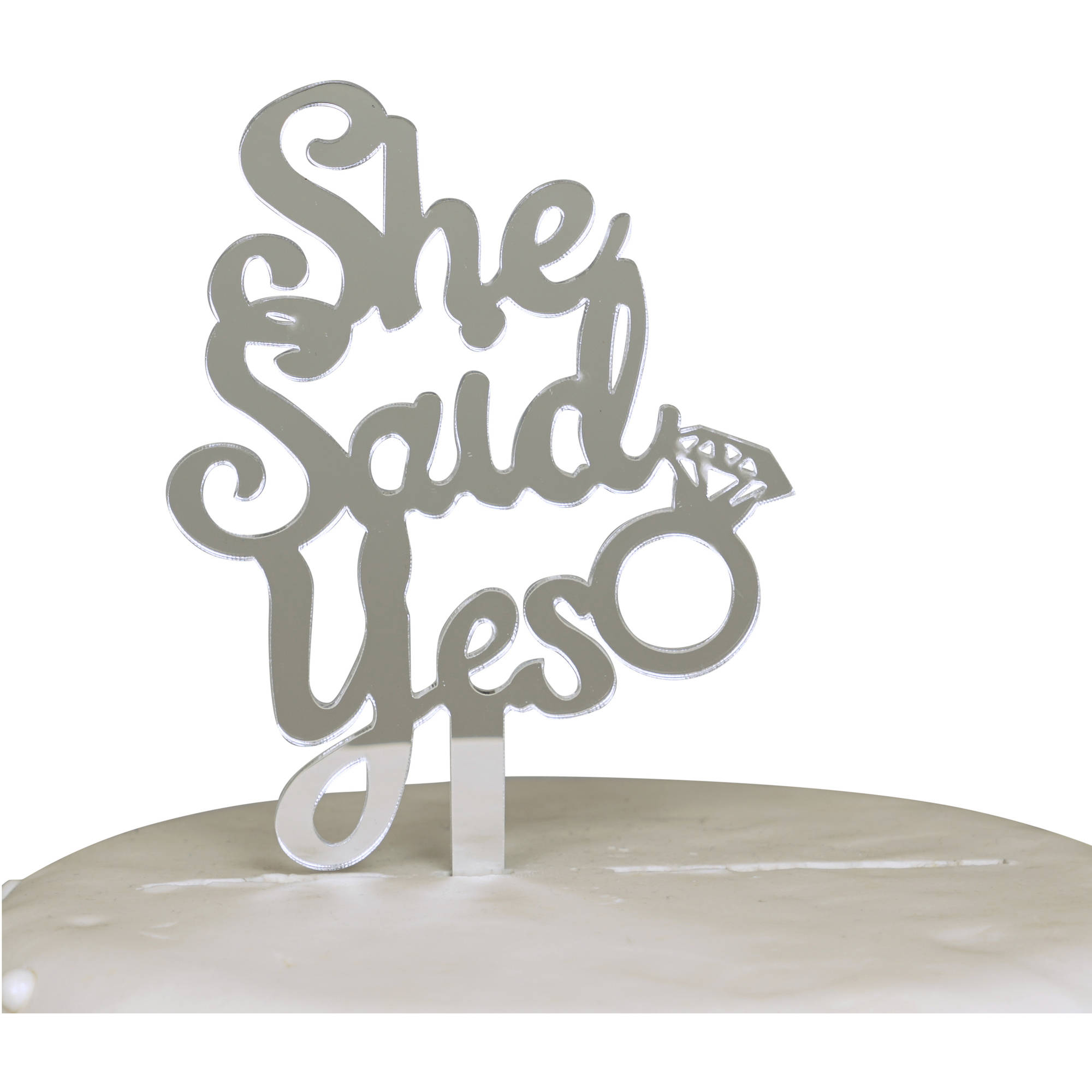 She Said Yes Engagement Acrylic Cake Topper, Silver Mirror