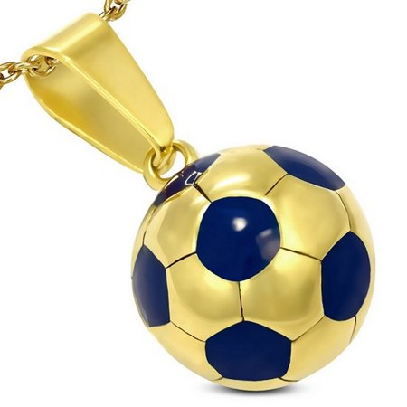 Stainless Steel Yellow Gold-Tone Soccer Ball Football Charm Pendant Necklace with Chain](Football Necklaces)