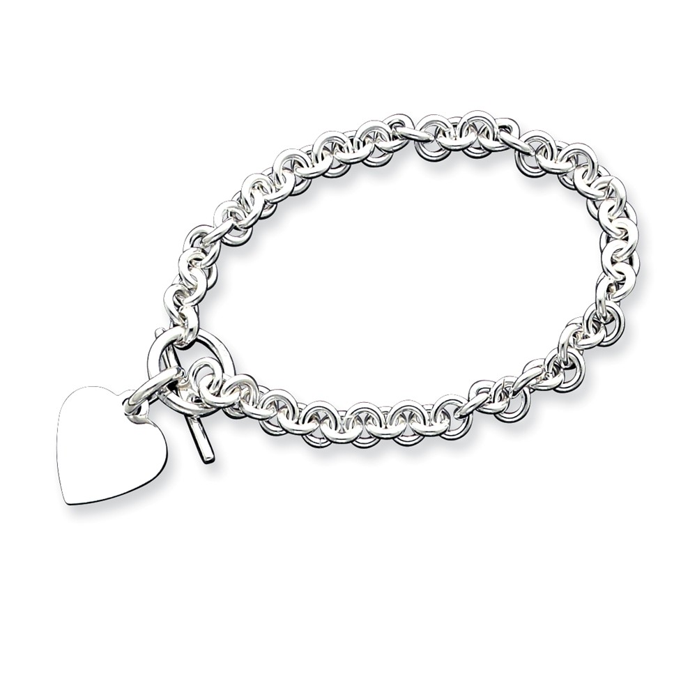 Sterling Silver 8.75in Engraveable Heart Disc on Fancy Link Toggle Bracelet