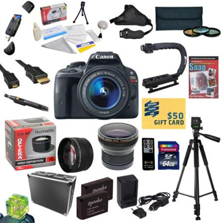 Canon EOS Rebel SL1 DSLR Camera with EF-S 18-55mm f 3.5-5.6 IS STM Lens With 32GB SDXC Card, 2 Batteries,... by