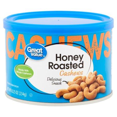 Great Value Honey Roasted Whole Cashews, 8.25 Oz.