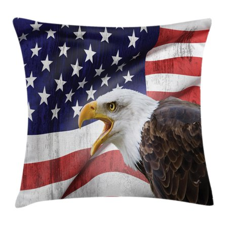 American Flag Decor Throw Pillow Cushion Cover, Eagle on Foreground Banner Pride History Solidarity Martial Identity Symbol, Decorative Square Accent Pillow Case, 16 X 16 Inches, Multi, by Ambesonne