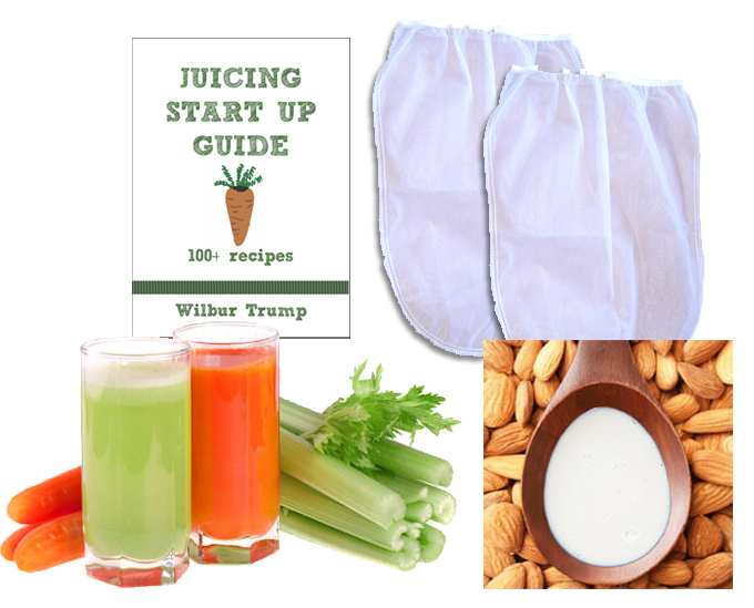 "Click here to buy 2 Fine Mesh Nut Milk Jelly Strainer Bags (1 gal) XL Extra Large + Juicing and Sprouting eBook ""Juicing Start Up Guide"" by RawNori."