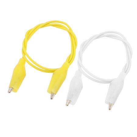 2pcs Yellow White Double Ended Alligator  Test Leads Probe Wire 47cm