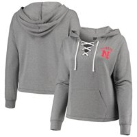 Nebraska Cornhuskers 5th & Ocean by New Era Women's Plus Size Lace-Up Pullover Hoodie - Heathered Gray