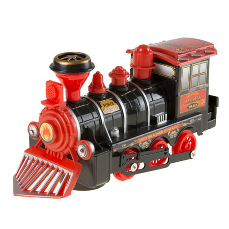 Toy Train Locomotive Engine Car with Battery-Powered Lights, Sounds and Bump-n-Go Movement for Boys and Girls by Hey! Play! Black for $<!---->