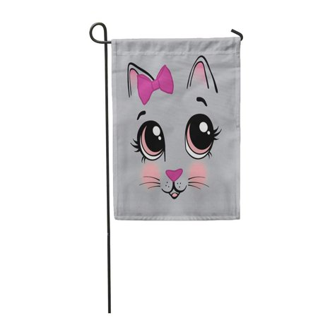 KDAGR Pink Cat Sweet Kitty Face Little Girls Tee Cute Garden Flag Decorative Flag House Banner 12x18 inch